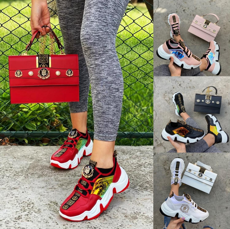 Miss Melisa-أحذية وحقيبة رياضية أنيقة ، مجموعة أحذية وحقيبة ، كود S100