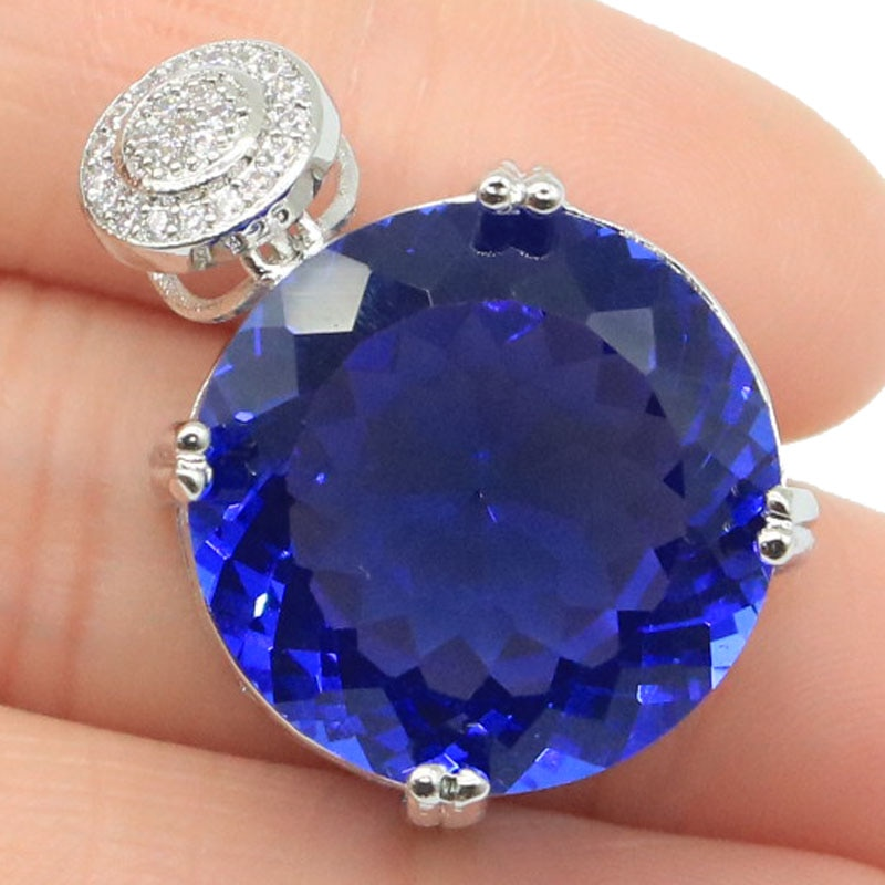 Piedra preciosa redonda grande de 30x20mm, 20x20mm, colgante de plata de tanzanita CZ azul violeta rico creado