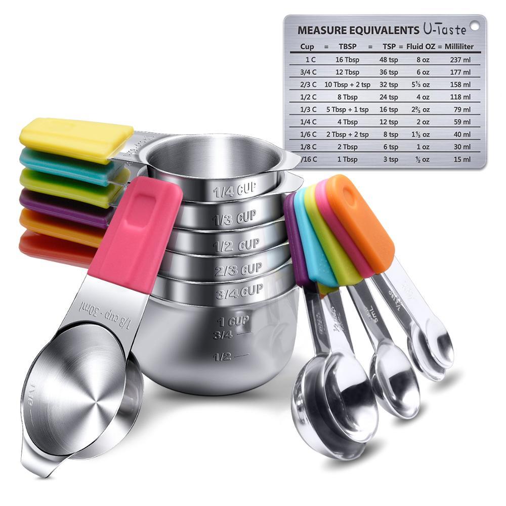 Tazas de cuchara de medida magnéticas u-taste 13pc, tazas de silicona con mango de montaje en pared, Hornear en Casa de café de Metal con placa de escala