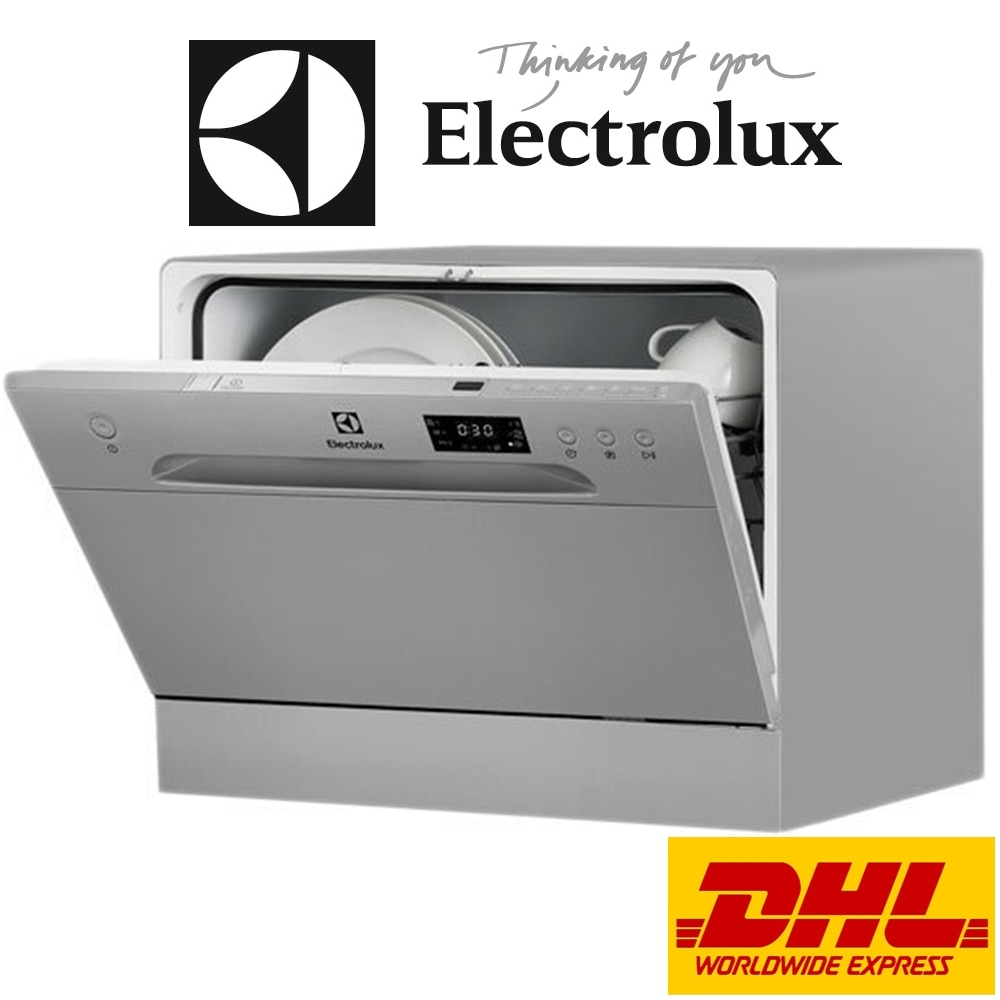 Electrolux ESF2400OS A + 6 Place Settings Gray Countertop Compact Dishwasher. For Home or Commercial (Cafe , Restaurant...etc.)