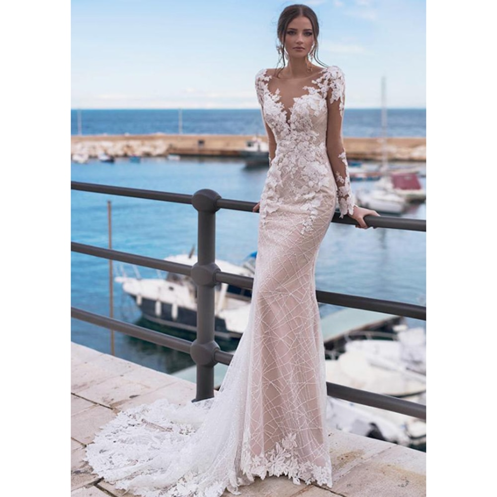 Review Gorgeous Lace Mermaid Wedding Dresses Boat Neck Long Sleeve Corset Sexy Open Back Court Train Bride Gowns Beading Appliques