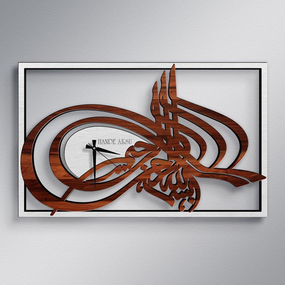 Персонализированные Османская монограмма деревянные настенные часы (модель А4)