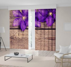 Curtain Violet Flowers on Wooden Table Summer Spring Bloom Country Style Rustic Decorating Phot Purple Brown