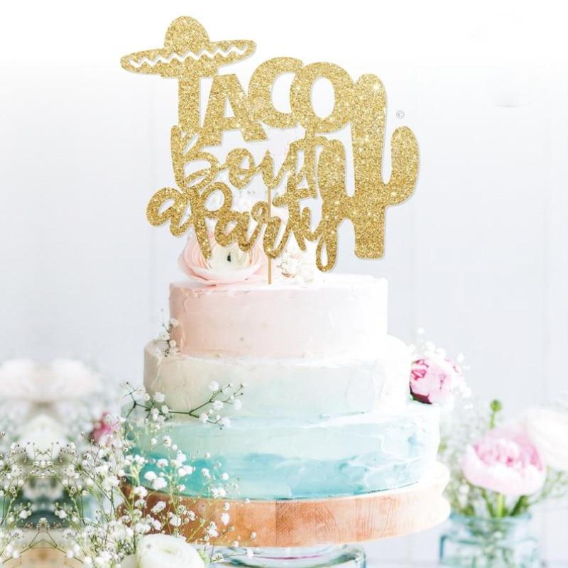 Décoration de gâteau glod Taco personnalisée   Décoration scintillante de Fiesta, décoration de fête, gâteau de Fiesta sur invitation Flamingo