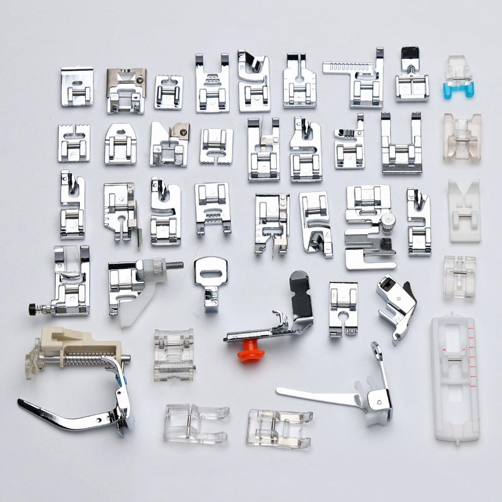 42 Pcs Multifunctional Sewing Machine Foot Presser Foot Hem Crimping Feet Sewing Accessories Household Presser Feet Kit Set