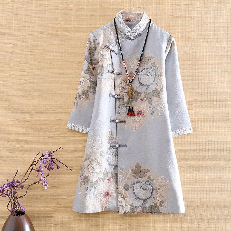 O novo outono feminino vestido real cheongsam estilo étnico retro elegante jacquard magro elegante senhora festa qipao vestido S-XL