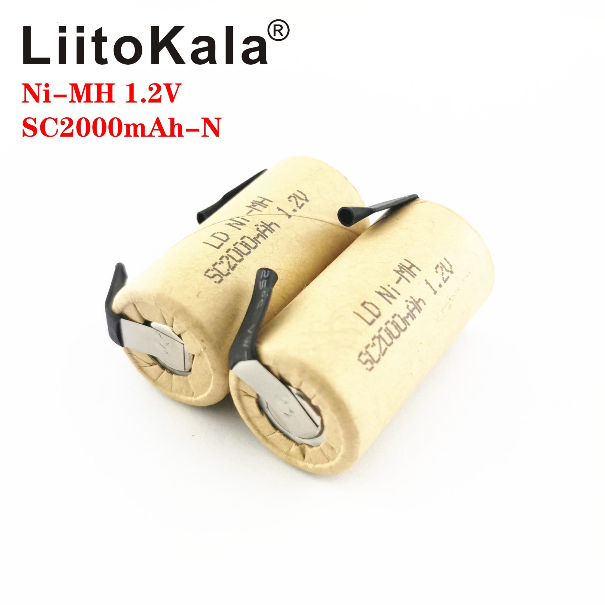 LiitoKala Ni-MH 1,2 V SC 2000mAh Ni MH, herramienta de alta potencia, batería, tasa de descarga de celda, baterías recargables 10C, celdas nicke DIY