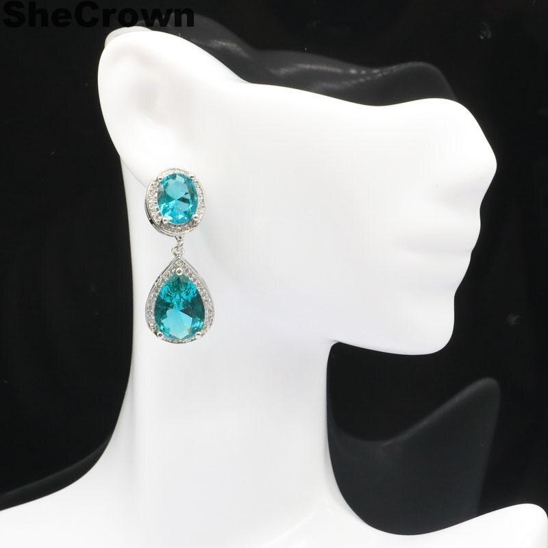 34x14mm 2020 New Arrival utworzono bogaty niebieski akwamaryn zielony Peridot biały CZ prezent dla siostry srebrne kolczyki