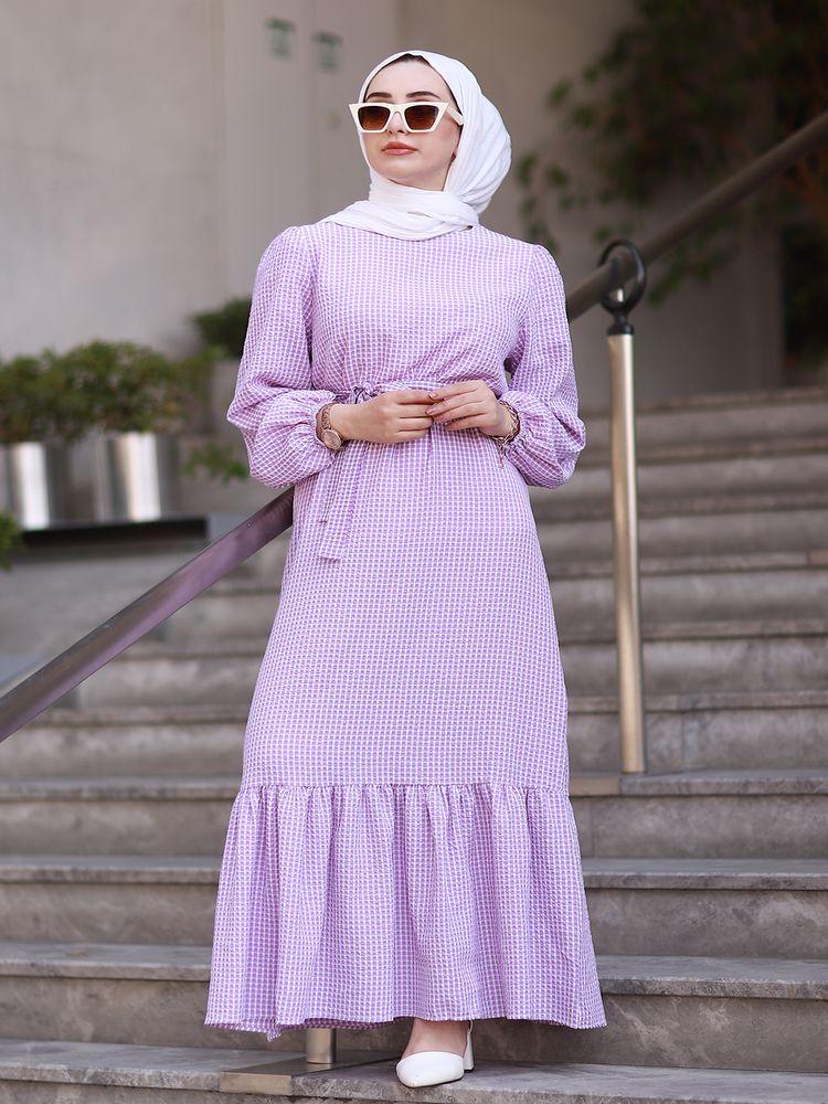 Pötikare wafer belted Hijab dress Kaftan Dubai Abaya Turkey Muslim women Vestidos Eid Mubarak Robe Femme Abaya