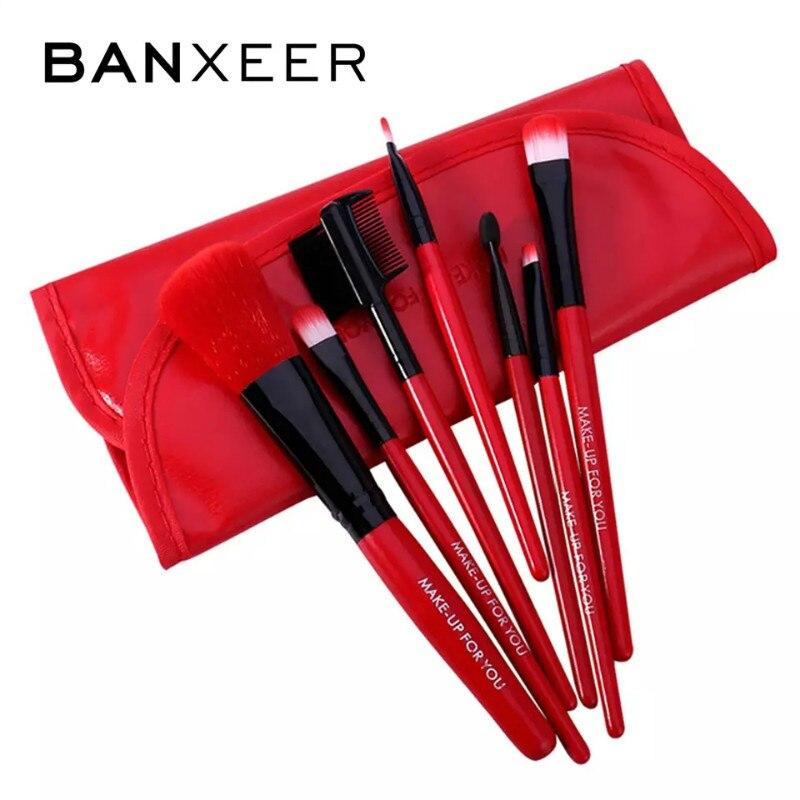 BANXEER איפור מברשות סט 7 יח'חבילה רך סינטטי שיער סומק צלליות שפות איפור מברשת עם עור מקרה למתחילים מברשת