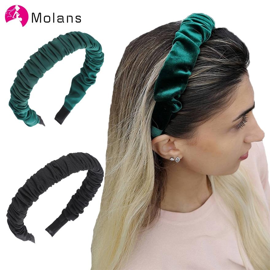 Molans, diademas de Color liso acanaladas, diademas plisadas antideslizantes para Niñas para mujeres, elegante tela sólida, diademas de novedad