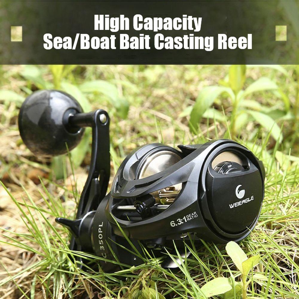 Offshore Boat Fishing Baitcasting Reel 6.3:1 Metal Spool Wheel Carbon Grip Sea Saltwater Bait Casting Feeder Fishing Reel Tackle enlarge