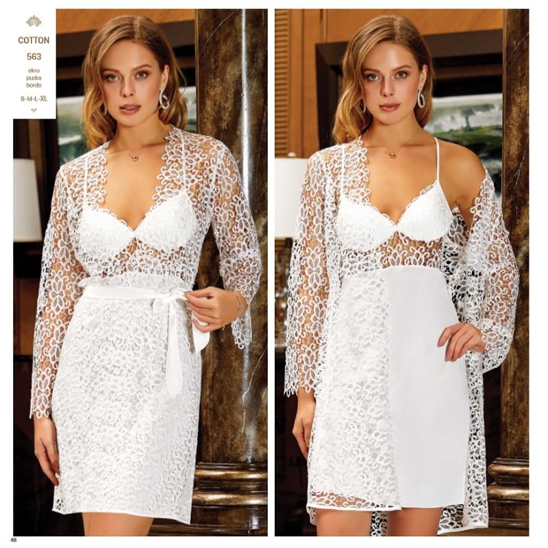 JEREMI 563 6 Pieces COTTON Sets Women Bride Trousseau Dowry Sexy Lace Robe Sleepwear Kit Nightwear Pyjama Sets Gift Turkish