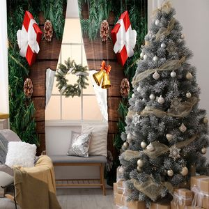 Curtain Christmas Gifts Fir Tree Branches Pine Cons Bells And Sketch Of Reindeer On A Wooden Table Green Red Brown