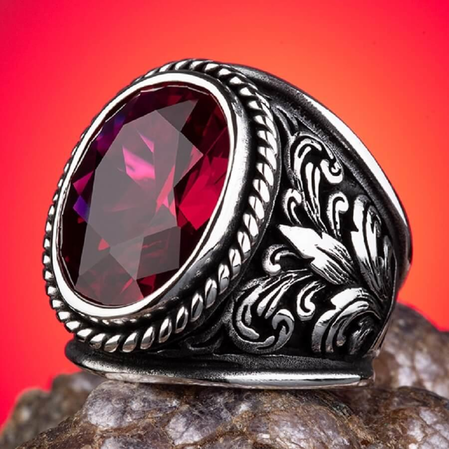 Get Faceted Ruby Stone Men Ring Otttoman Style Men Jewelry High Quality Ring Unique Design Men's