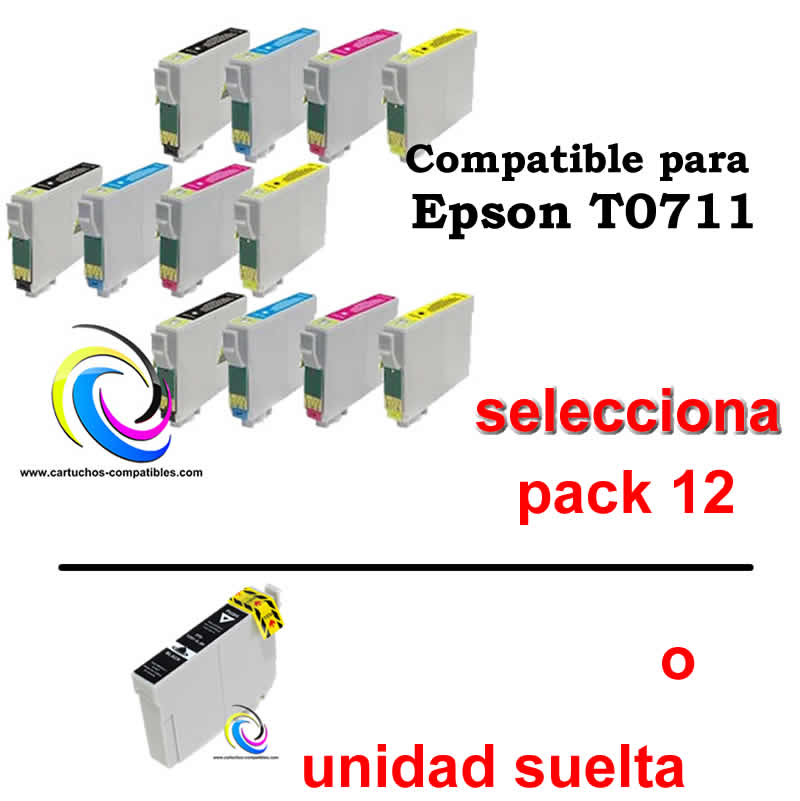 Epson T0715 12 compatible con T0711 T0712 T0713 T0714