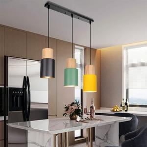 Nordic logs Simple Three-Headed Wrought Iron Restaurant Chandelier lamp Lighting Bar Restaurant Bedroom Study pendant light