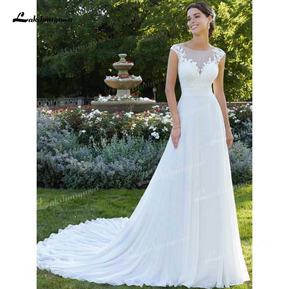 Promo Elegant Chiffon A-Line Wedding Dresses Illusion Boat Neck Cap Short Sleeve Open Back Chapel Train Tulle Bride Gowns Appliques