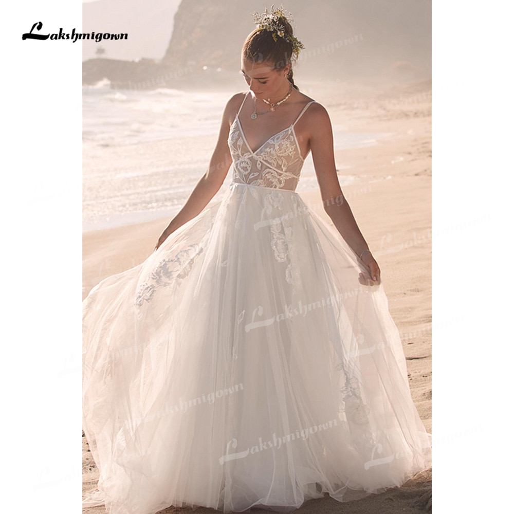 Review Charming Tulle A-Line Wedding Dresses Sexy V-Neck Sleeveless Spaghetti Straps Court Train Bride Gowns Appliques Off The Shoulder