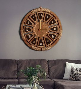 Wall Clock Wooden City Zeyrek Roman Digit Authentic Mesh Embroidered 35 - 45 - 55 Cm Modern Design Unique Texture Special Style