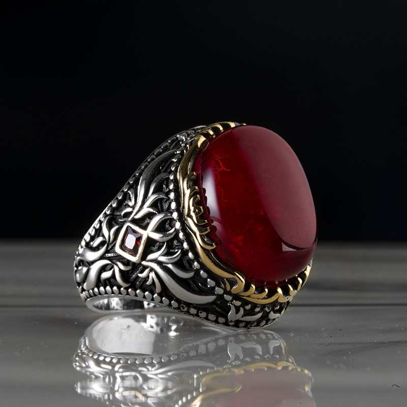 Guaranteed High-quality 925 Sterling Silver AGATE STONE ring Jewelry Made in Turkey in a luxurious way for men with gift