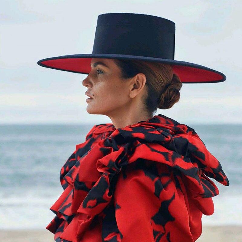 Klassische UNISEX BREITE KREMPE SPLICE ZWEI TON WOLLE FEDORA Winter Warme Breiter Krempe Frauen Hüte Rot Schwarz Damen Kirche Derby kleid Hut
