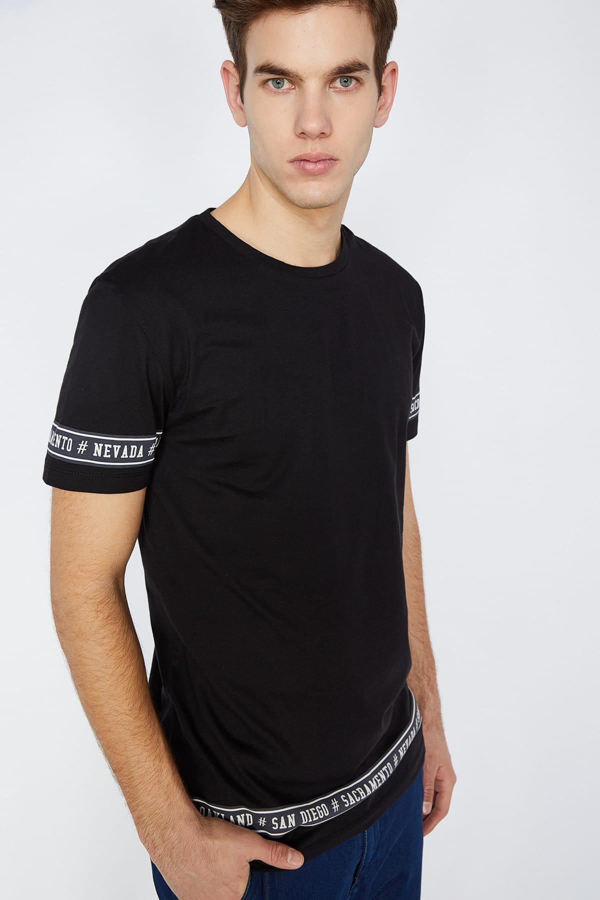 Camiseta preta de koton masculino 9 yam14104ok