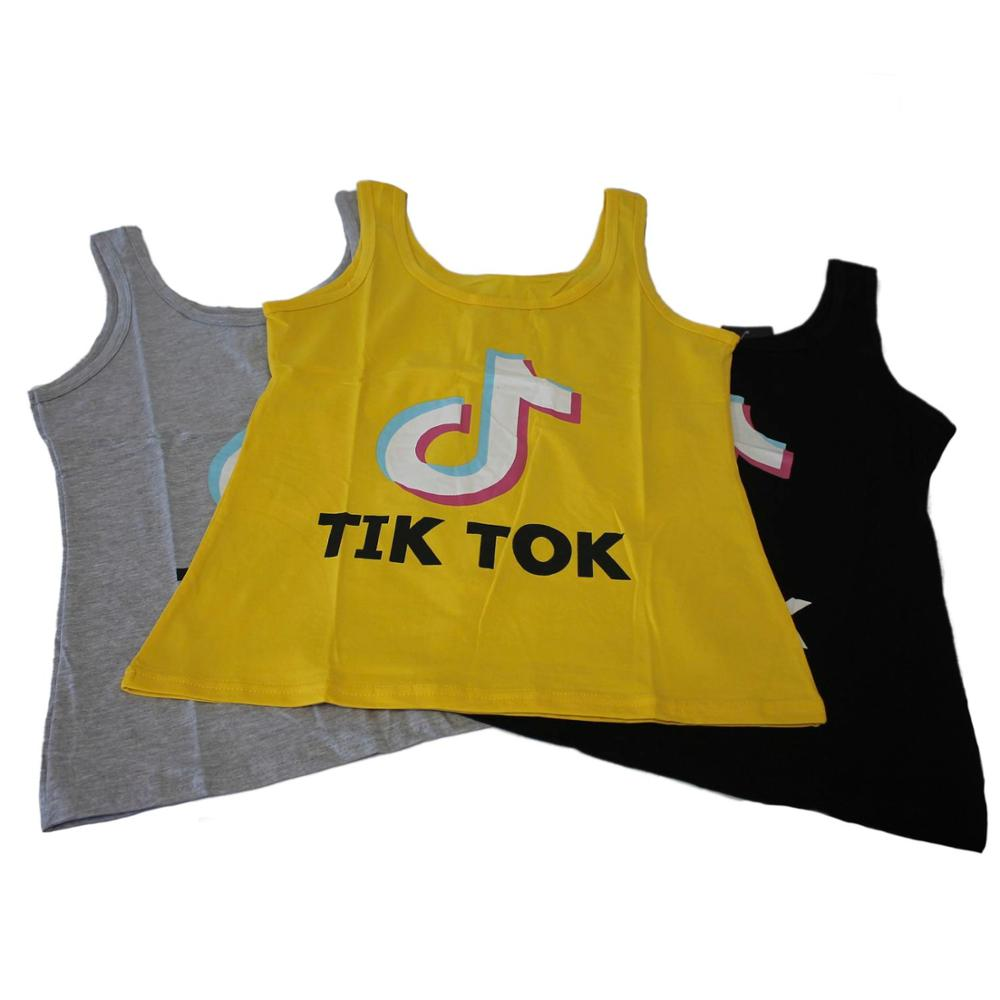 Camiseta mujer verano sin mangas cuello redondo estampado top Tik Tok