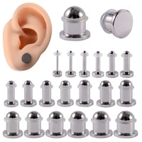 pair mirror surface cylinder ear plugs surgical steel ear gauges expander stretcher ear taper body piercing jewelry 1mm 10mm
