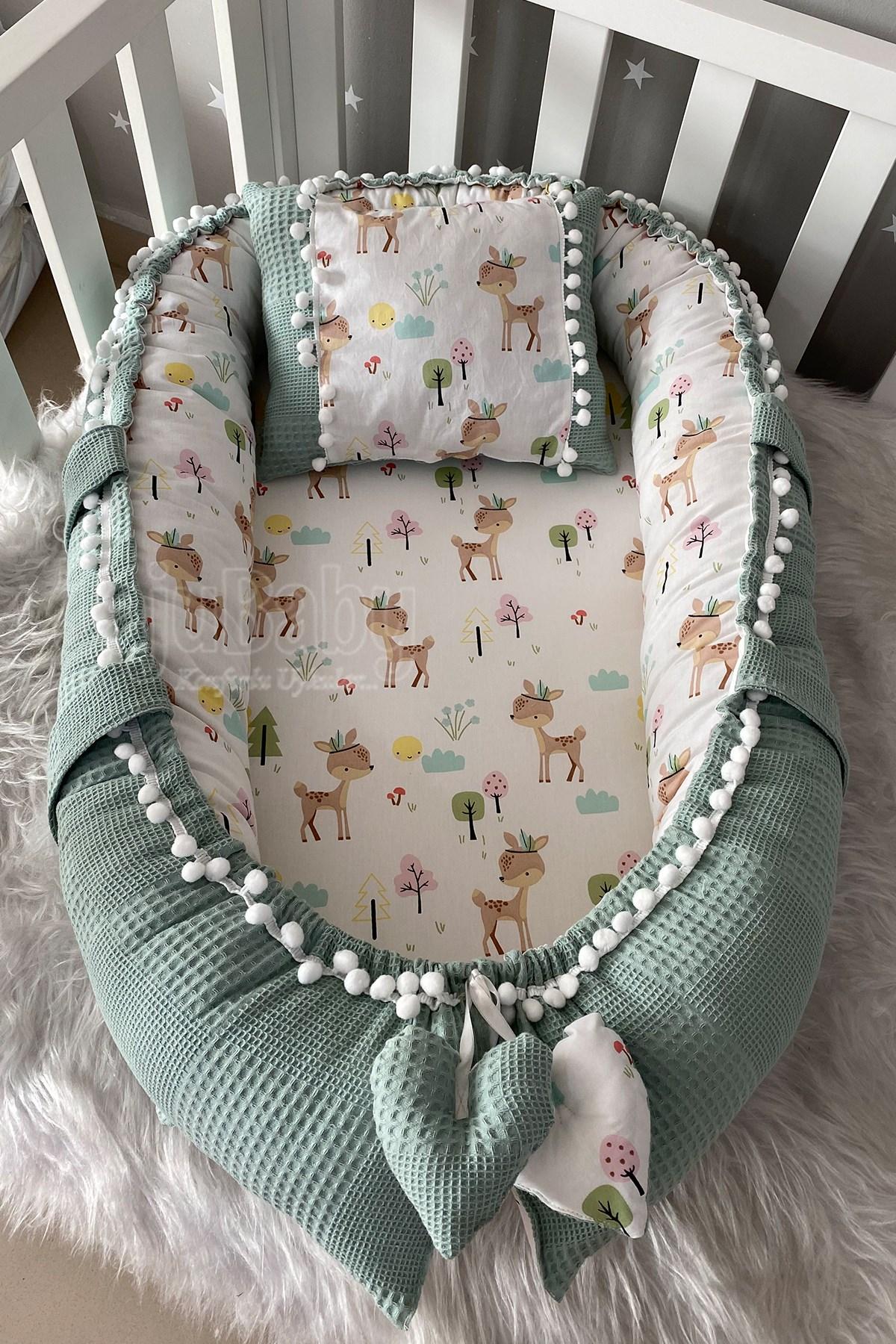 Jaju Baby Special Handmade Waffle Piqué Fabric Gazelle Design Pompon Babynest