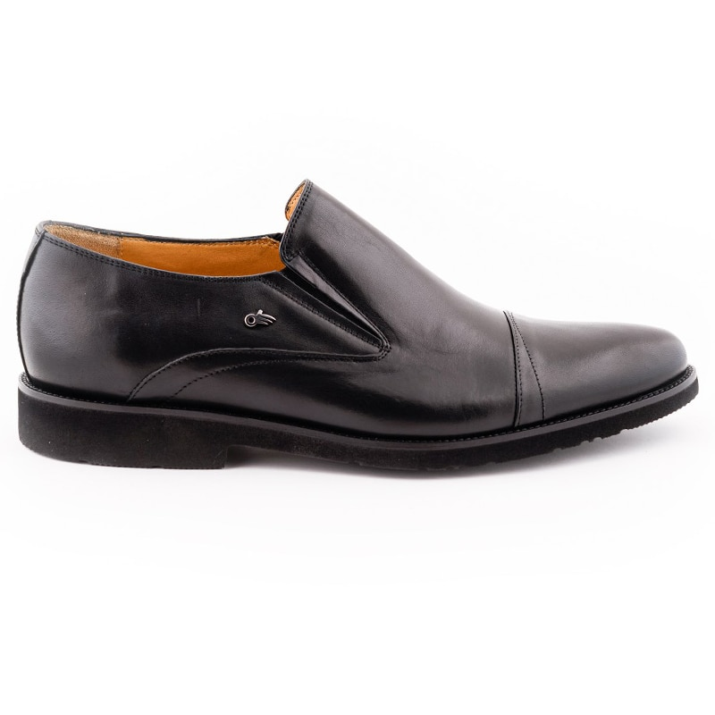 Shoes For Men Casual Genuine Leather Comfort Black Color Inside Out Leather Orthopedic Insole Normal Fit Suitable For Foot Anatomy Slip-On Classic Shoes Fashion Business Suit Wedding Event 021403