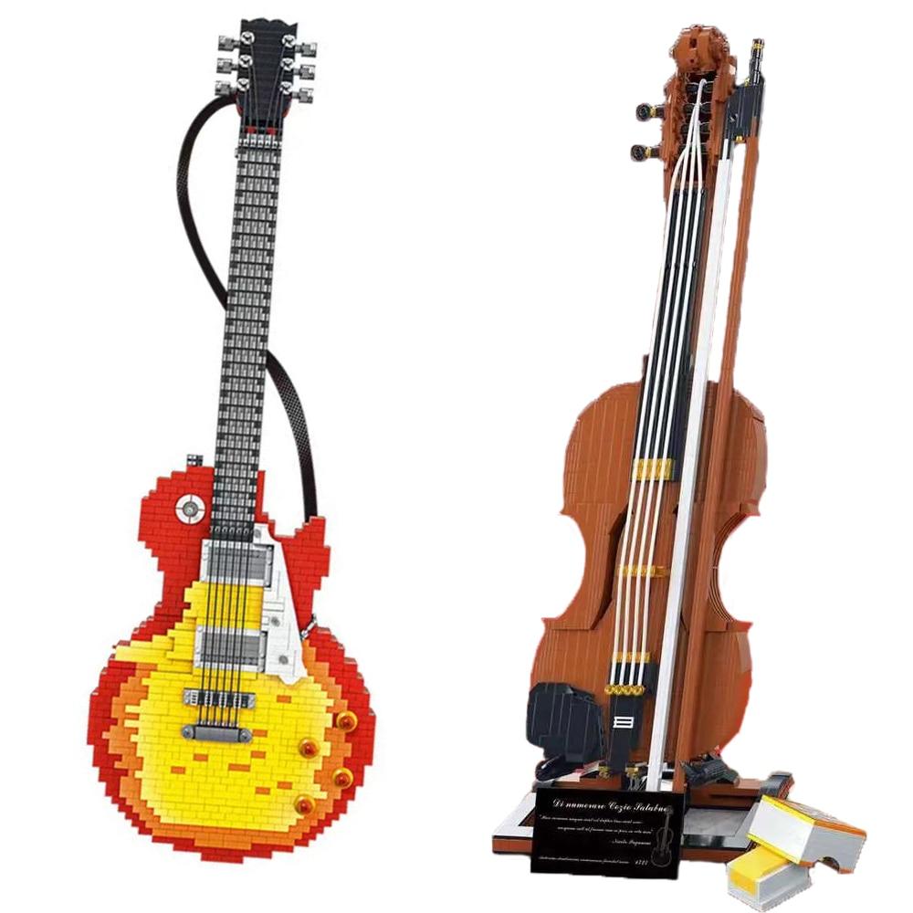 novo moc guitarra violino instrumento musical conjunto modelo tijolos diy jogando