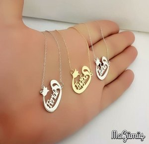 Vav Letter Name Written You Special Production Silver Lady Necklace