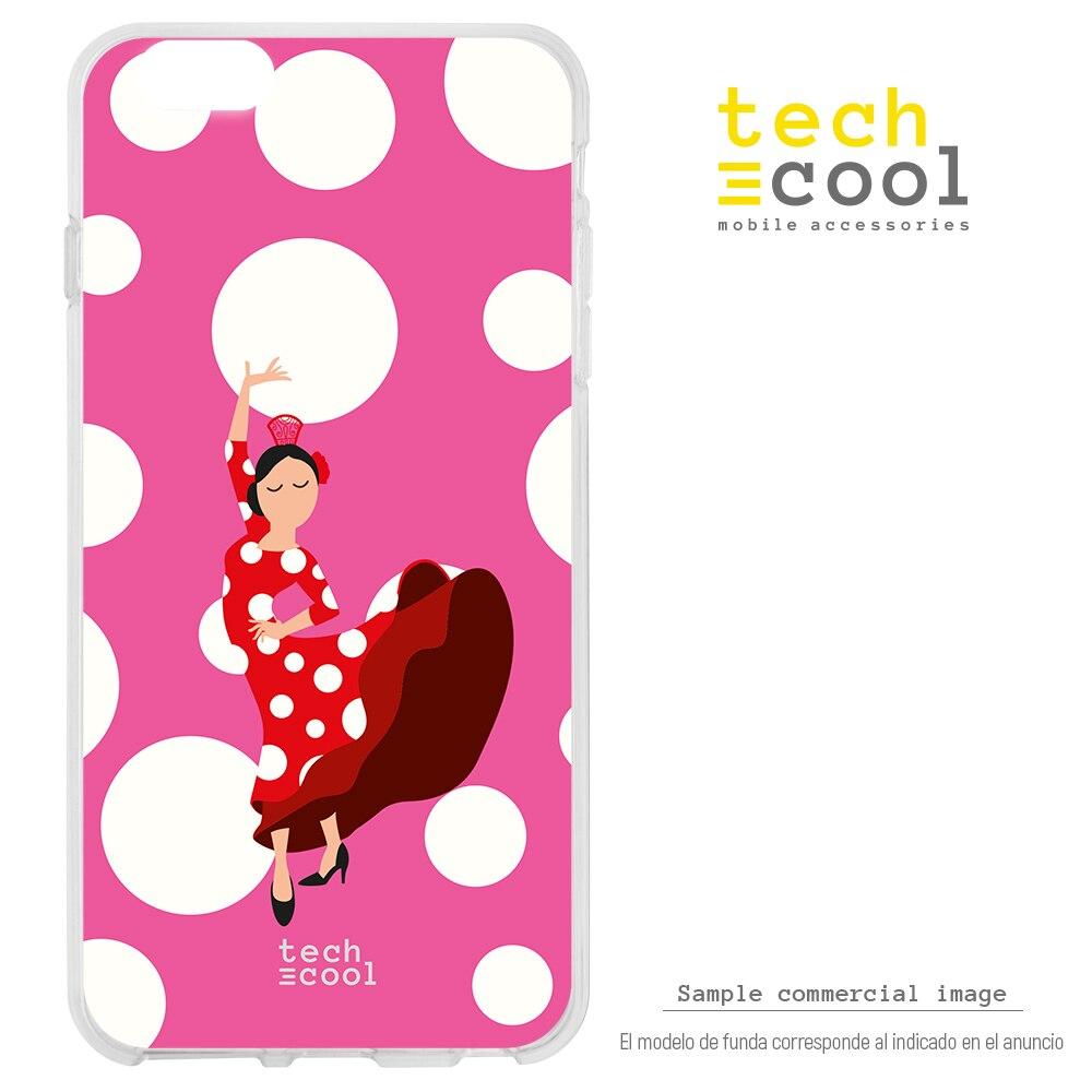 FunnyTech® Funda Silicona para Xiaomi Mi A1 l Flamenca feria lunares blanco fondo rosa