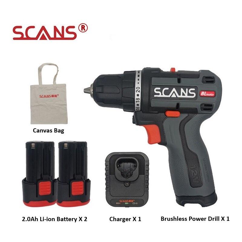 SCANS-S120 مثقاب كهربائي لاسلكي صغير ، بطارية ليثيوم أيون بدون فرش ، 12 فولت ، S120