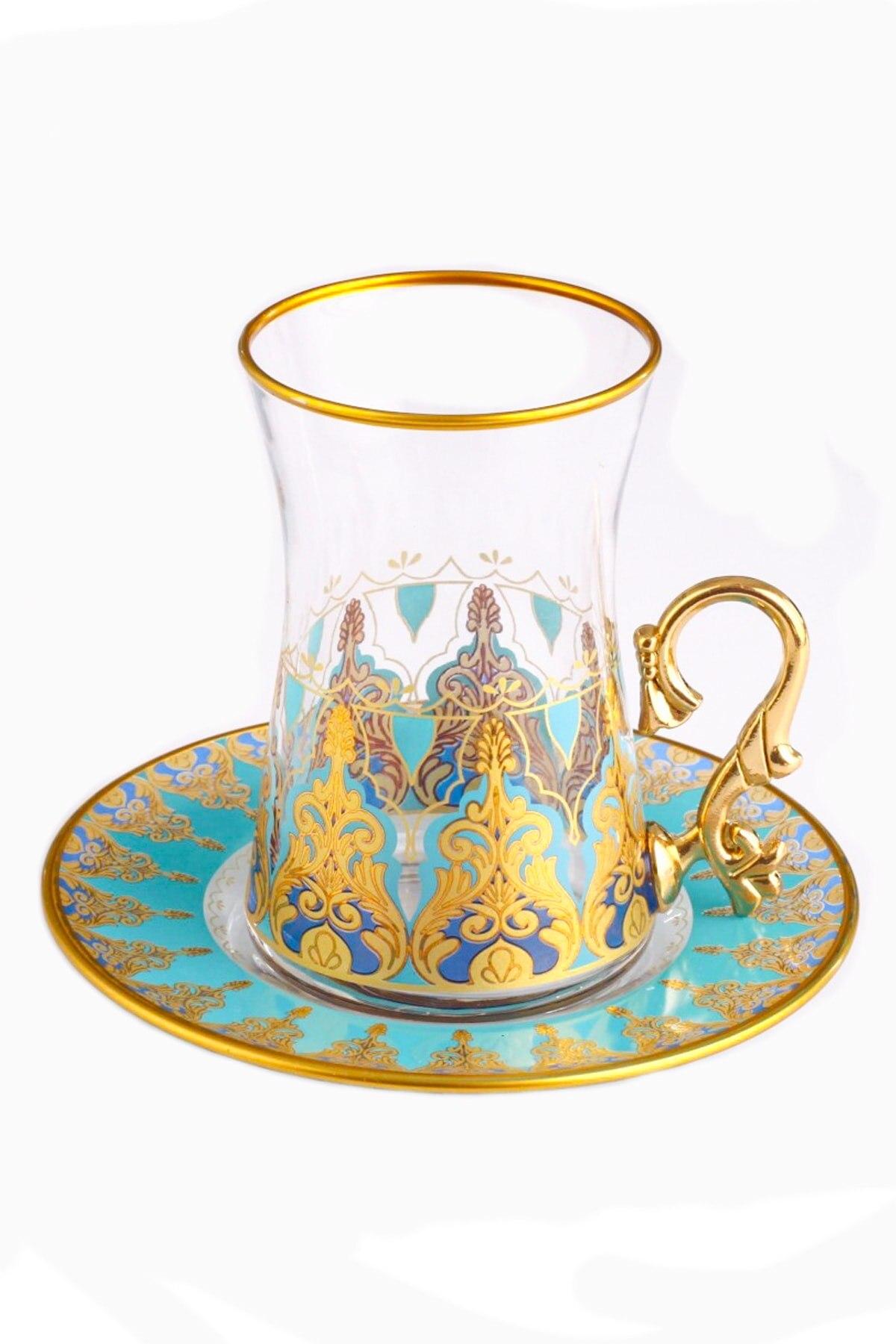 طقم أكواب شاي مع ميرا ، طقم شاي تركي زجاجي تقليدي ، فنجان قهوة ، طقم زجاج ذهبي مذهّب