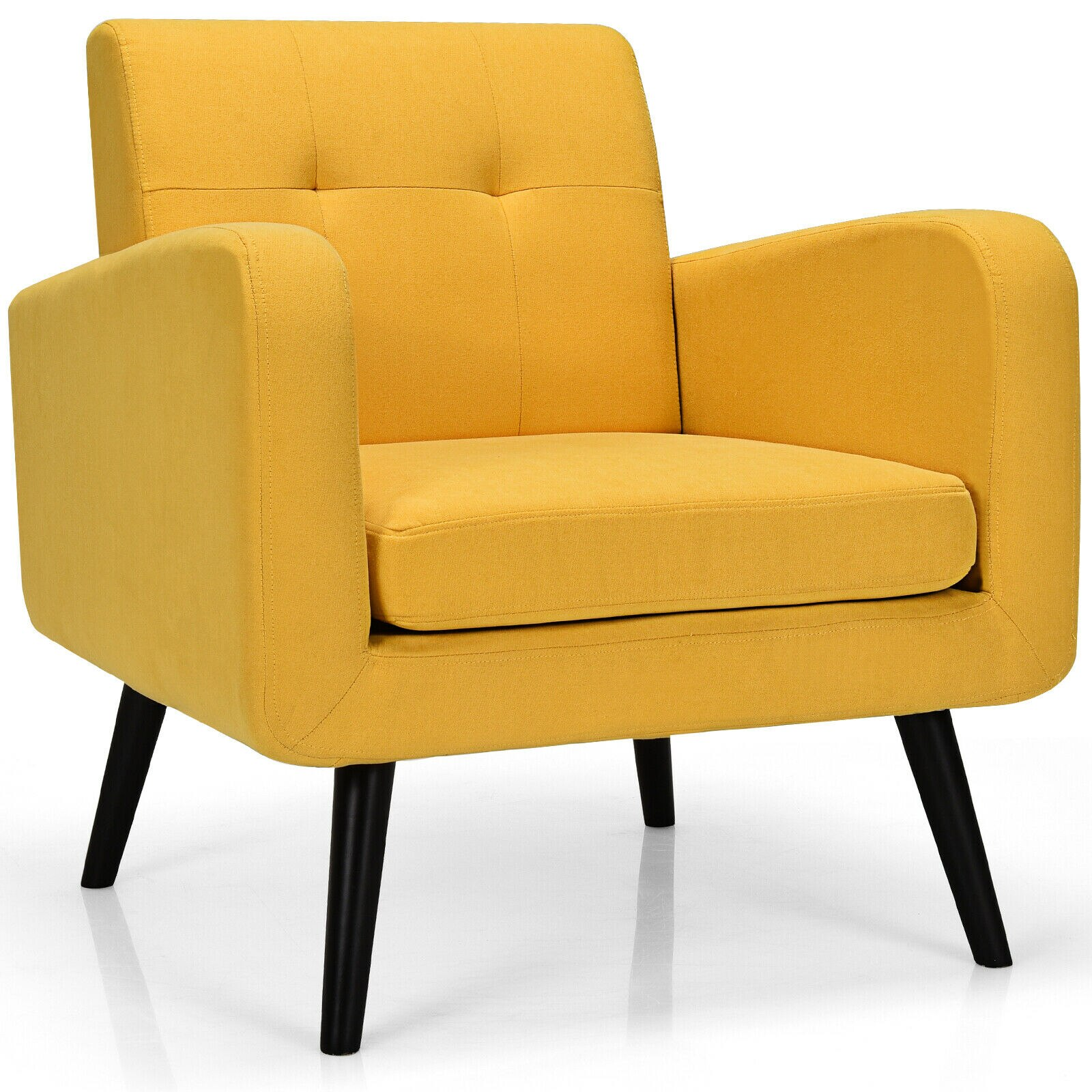 Giantex منتصف القرن لهجة كرسي النسيج الذراع كرسي أريكة واحدة ث/المطاط الخشب الساقين HW66544YE