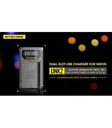 Nitecore unk2 nikon EN-EL15 carregador duplo (2 baterias 1 usb)
