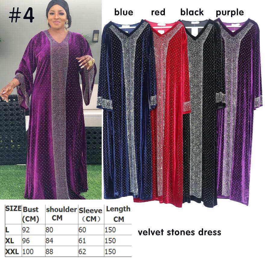 LQT04 vestido de terciopelo Grace África diseño suelto de manga larga diamantes ropa africana de talla grande Dubai muselina vestido túnica para fiesta