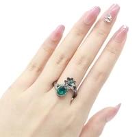 20x11mm neo gothic 4 9g flower blue aquamarine london blue topaz women street fashion black gold 925 sterling silver rings