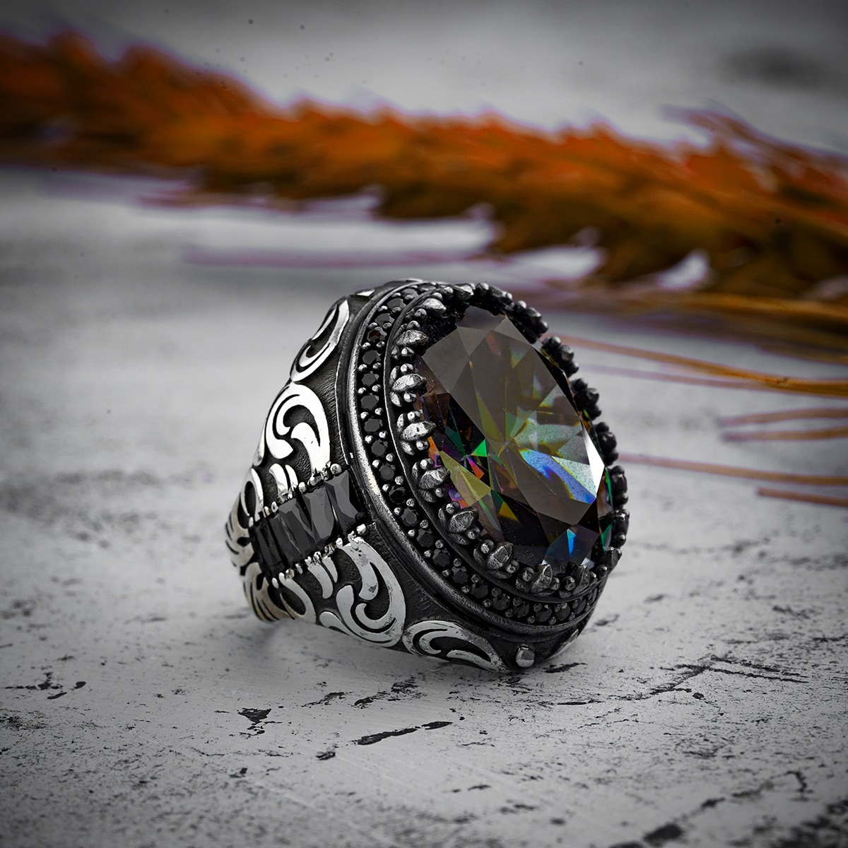 Guaranteed High-quality 925 Sterling Silver TOPAZ STONE ring Jewelry Made in Turkey in a luxurious way for men with gift