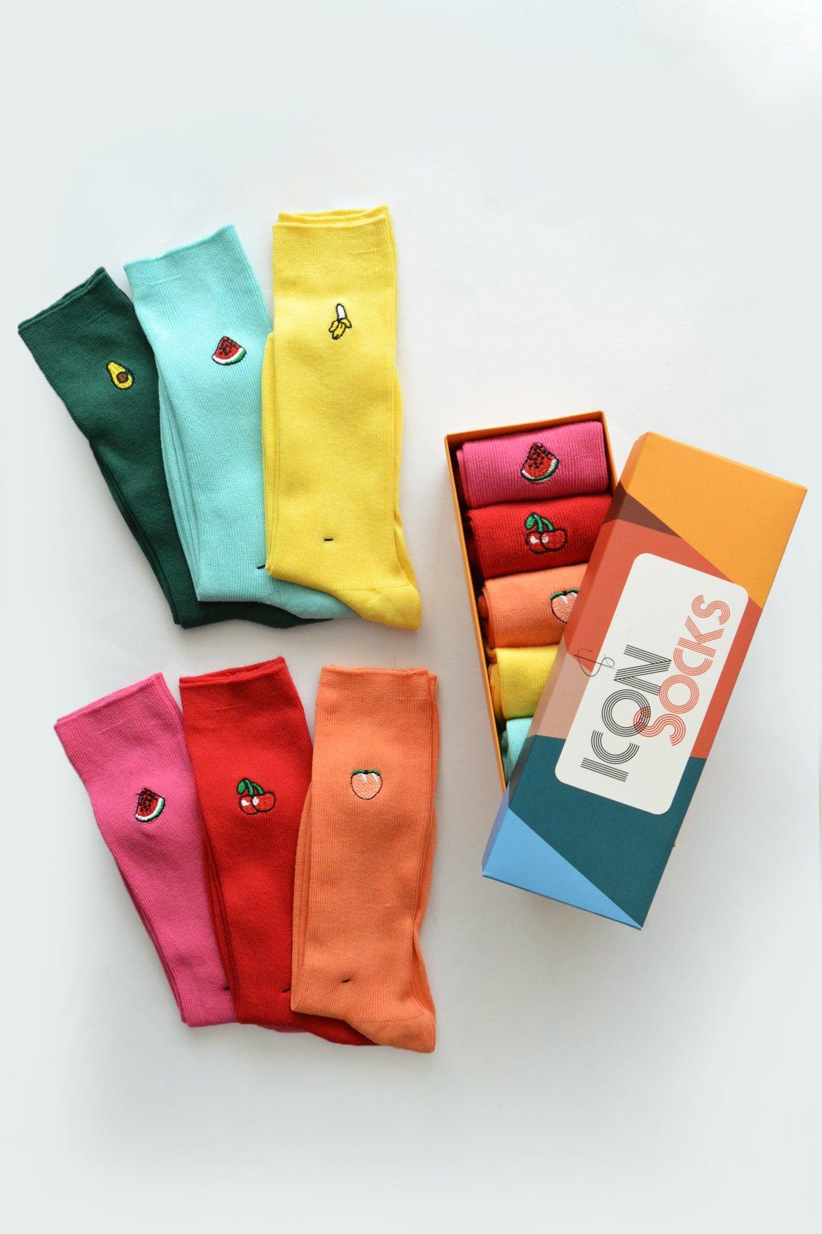 Unisex Fruit Embroidered 6'lı Design Socks Box