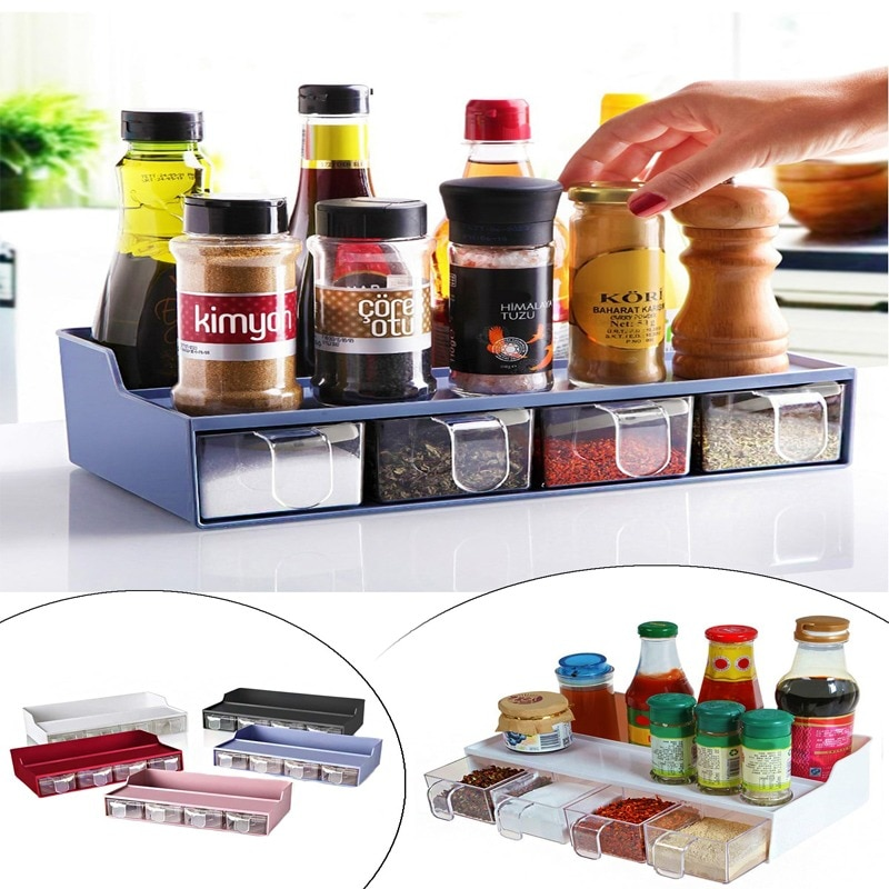 KITCHEN Spice Set With Hopper - Spice Rack With Stand Organizer Drawer Spice Set Drawer Condiment Jar  Spice Rack with Stand
