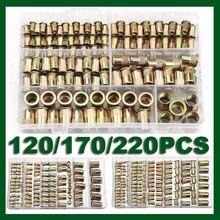 300 pièces M3 M4 M5 M6 M8 M10 M12 zingué en acier au carbone écrous moletés Rivnut tête plate fileté Rivet insérer capuchon écrou