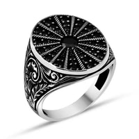 penworking pattern black zircon stones silver mens ring fashion turkish premium quality handmade jawelery