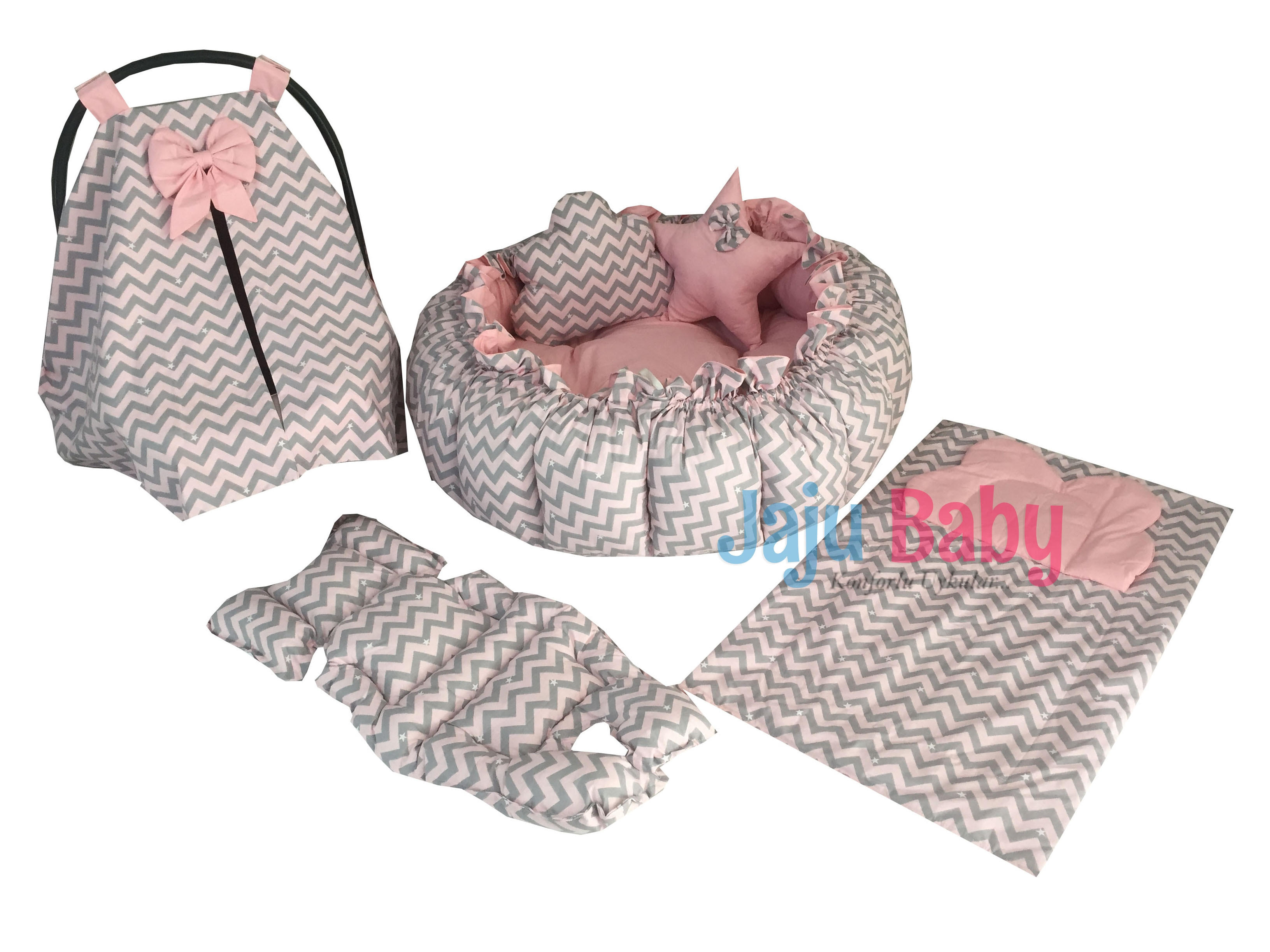 Jaju Baby Pink Gray Patterned Set Design Luxury Play Mat Babynest , Maternal Baby Bed, Retractable Play Mat