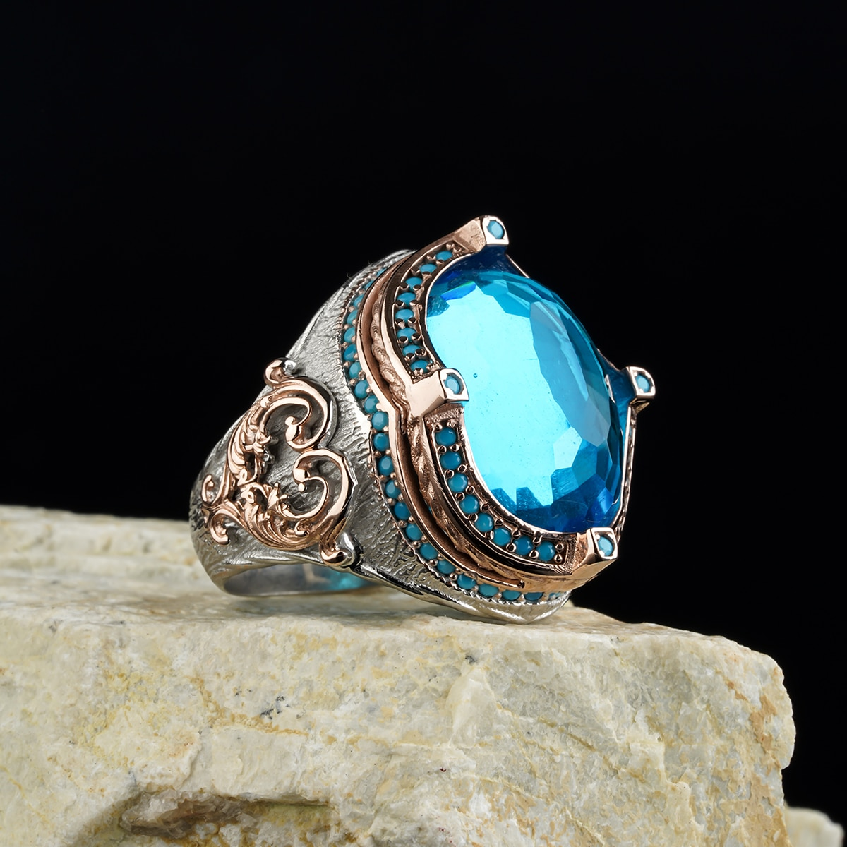 custom Jewelry Guaranteed High-quality 925 Sterling Silver ZİRCON stone ring   green color  in a luxurious way for men with gif