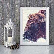 Peinture murale à lhuile imprimée   Peinture de grande taille, tableau dart mural, animal-photographie bison, peinture pour salon, sans cadre