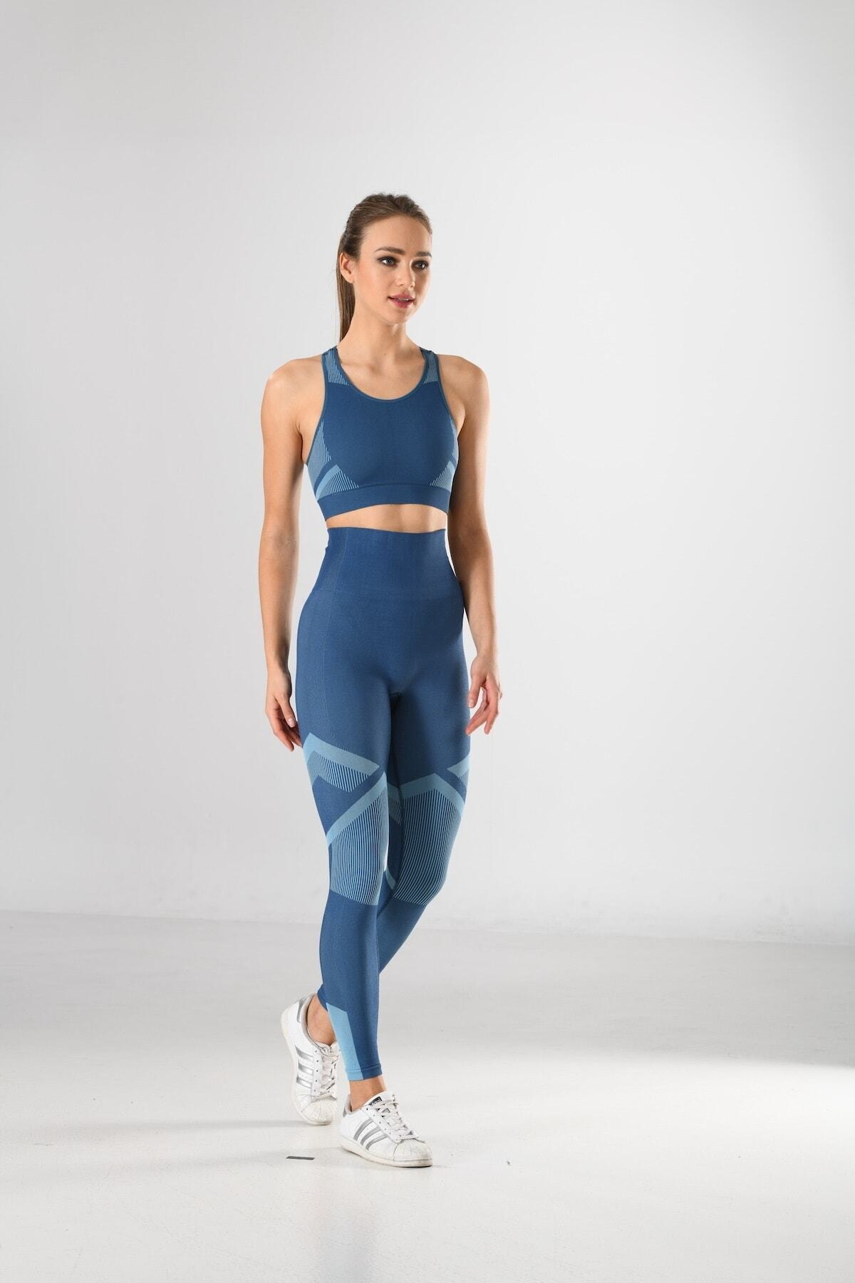 Women's Blue Pattern Sports Bustier And Tights Suit Knitted Seamless Seamless Yoga & Fitness & Plates