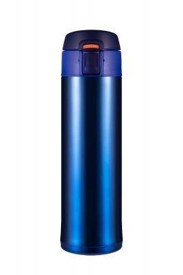 Termo de acero inoxidable de calidad alimentaria, termo taza regalo WOODSURF apertura rápida 2,0, azul metalizado, 480 ml